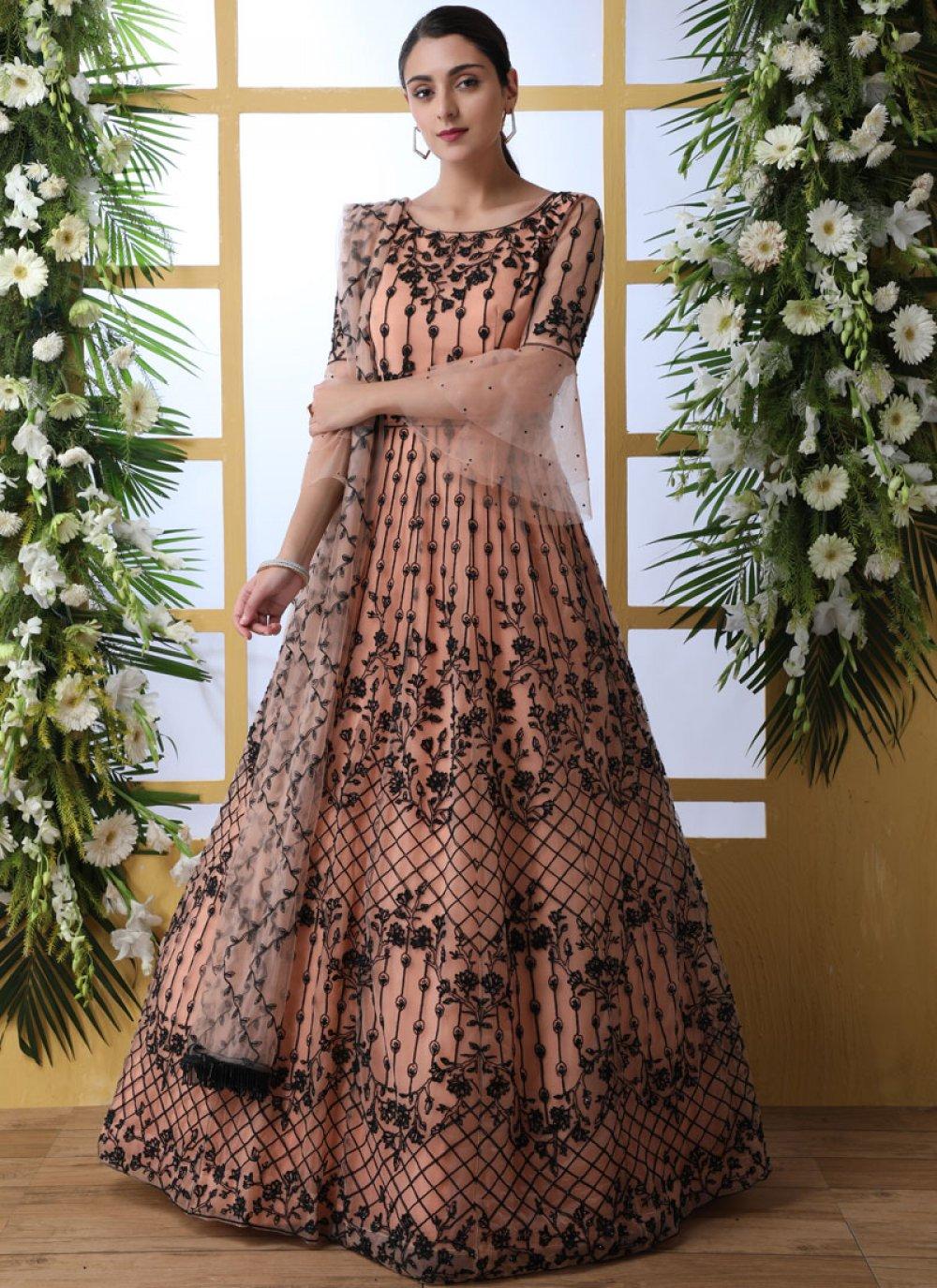 Peach Stone Work Designer Gown
