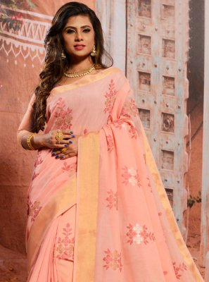 Peach Thread Cotton Casual Saree