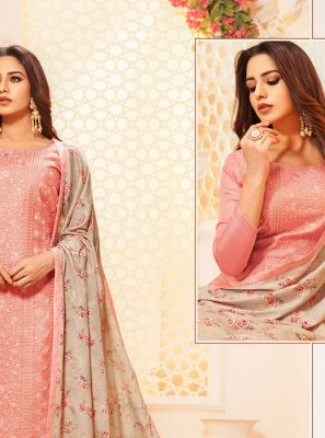 Peach Thread Silk Designer Salwar Kameez