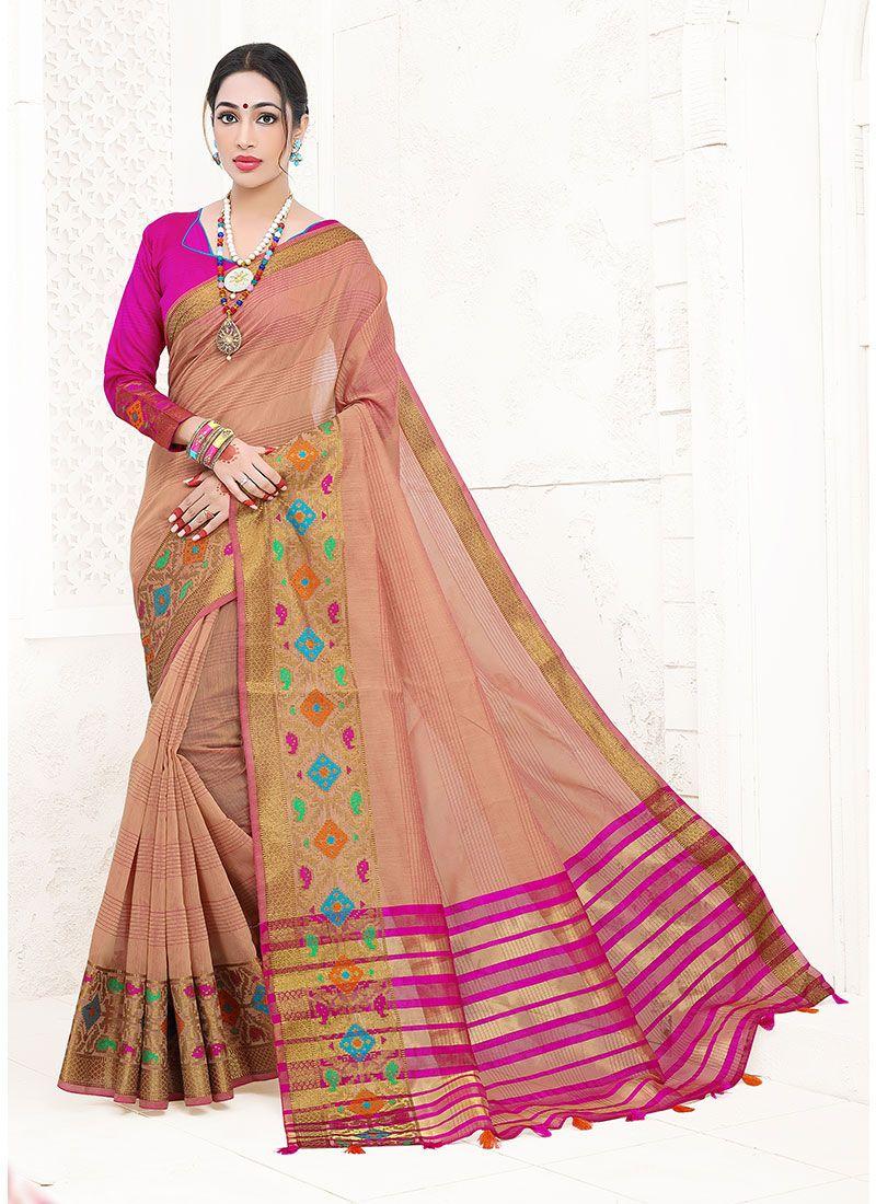 Peach Weaving Art Silk Cotton Designer Traditional Saree
