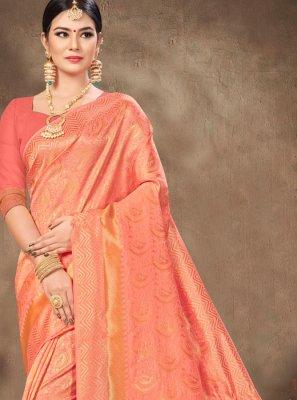 Peach Weaving Banarasi Silk Classic Saree