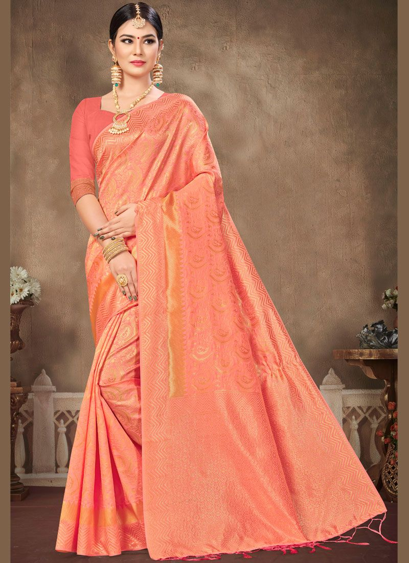 Peach Weaving Banarasi Silk Classic Saree