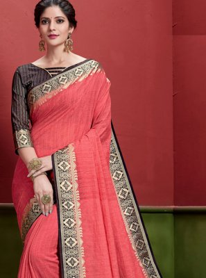 Peach Weaving Classic Saree