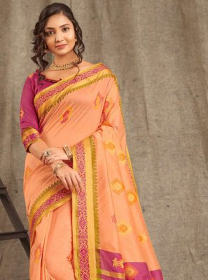 Peach Weaving Cotton Classic Saree