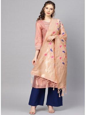 Peach Weaving Mehndi Designer Dupatta