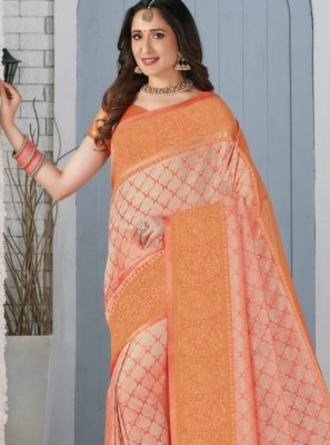 Peach Weaving Party Trendy Saree