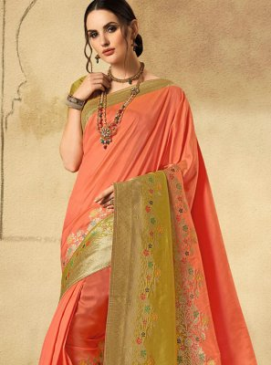 Peach Wedding Classic Designer Saree