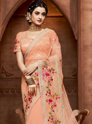 Peach Wedding Net Designer Saree