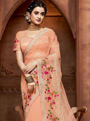 Peach Wedding Net Designer Saree
