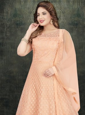 Peach Wedding Net Trendy Salwar Kameez