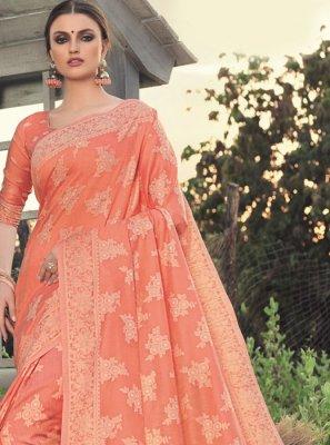 Peach Woven Classic Saree