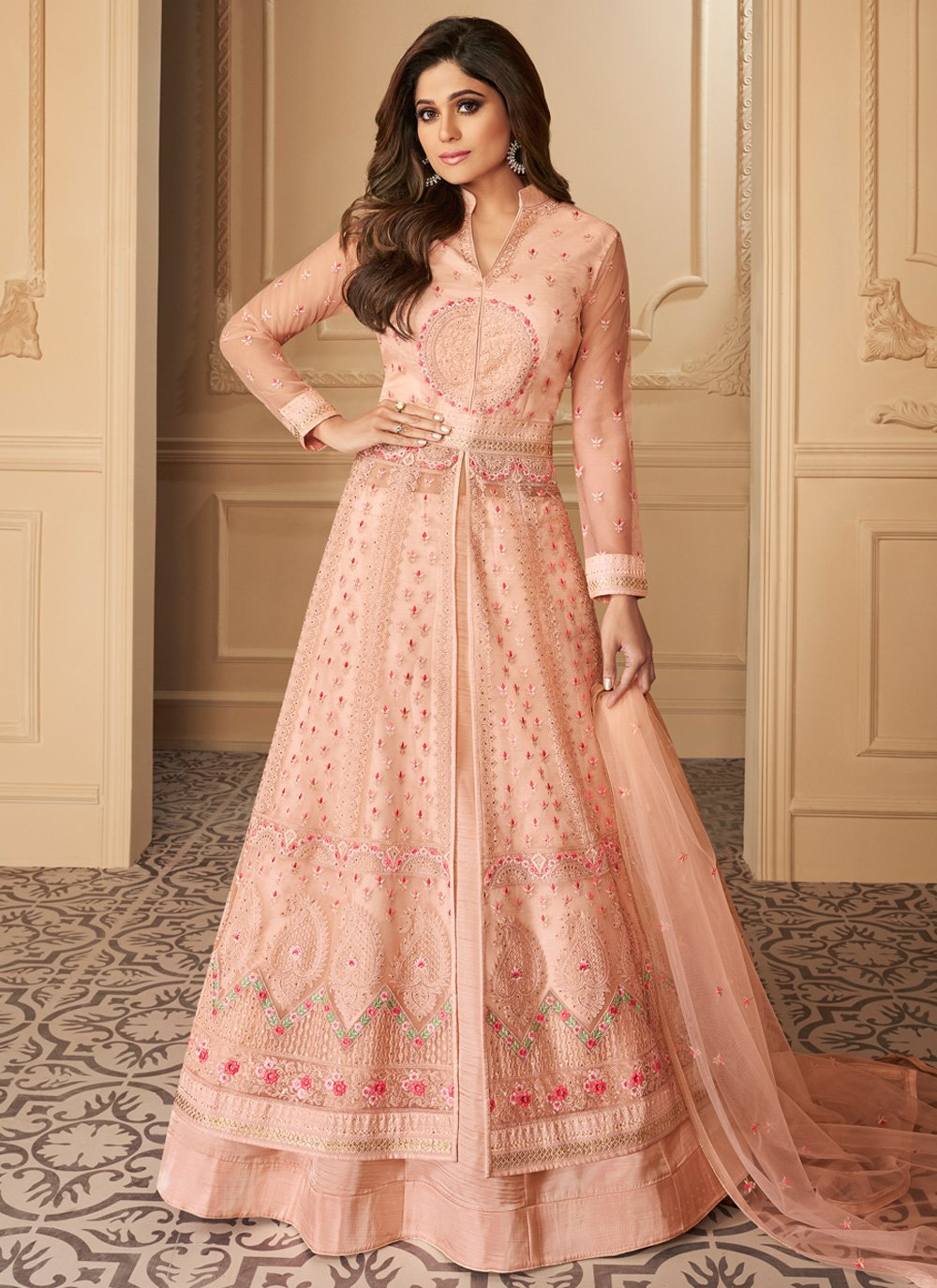 Peach Zari Engagement Anarkali Salwar Suit