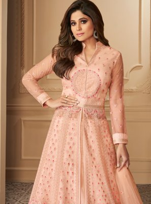 Peach Zari Engagement Anarkali Salwar Suit