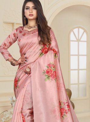 Pink Abstract Print Art Silk Printed Saree