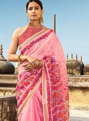 Pink Abstract Print Ceremonial Printed Saree