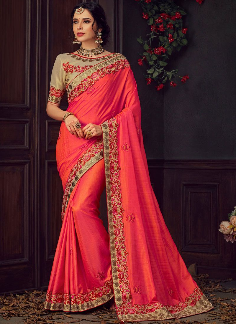 Pink and Red Party Poly Silk Traditional Saree