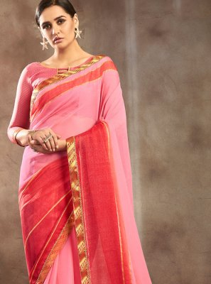Pink and Red Pure Chiffon Lace Shaded Saree