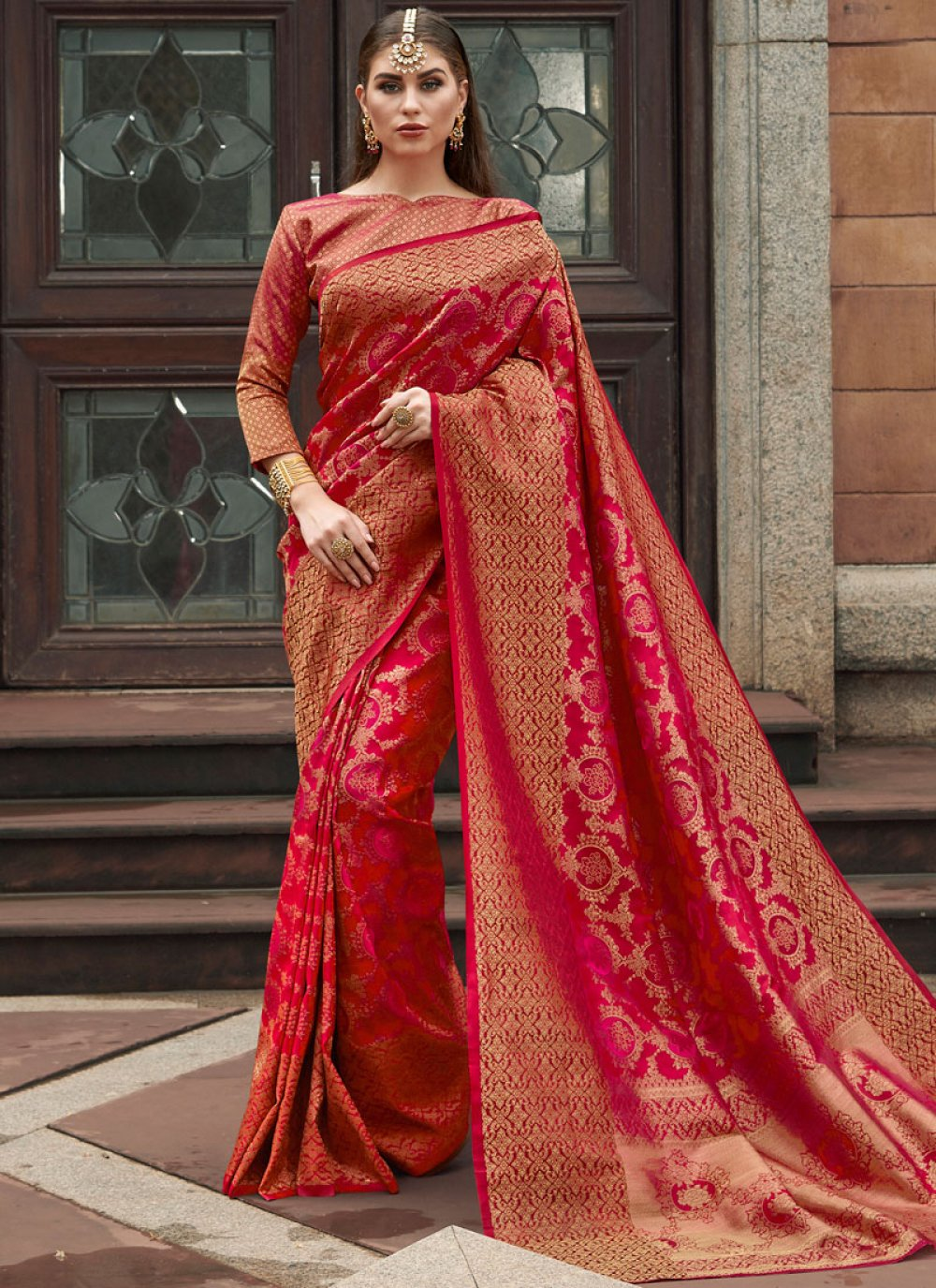 Pink and Red Weaving Silk Designer Traditional Saree