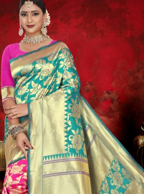 Pink and Sea Green Jacquard Designer Half N Half Saree