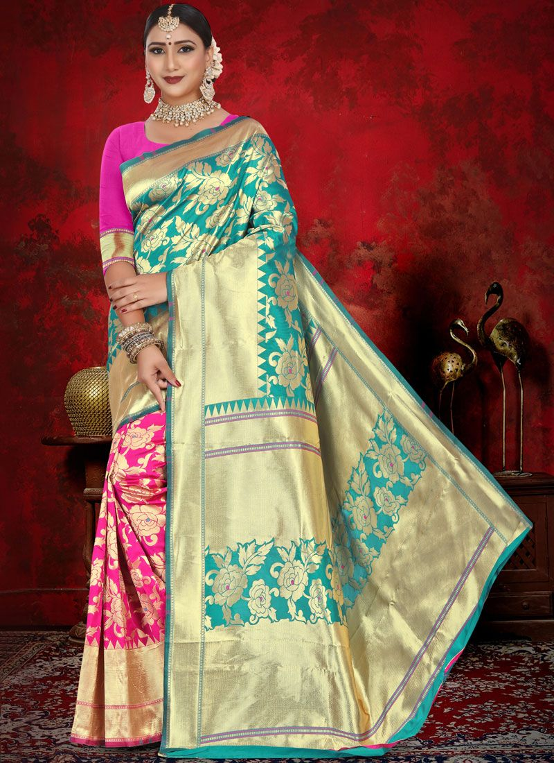 Pink and Sea Green Jacquard Designer Half N Half Saree