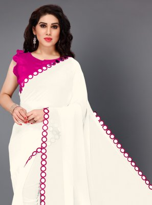 Pink and White Mirror Faux Georgette Classic Saree