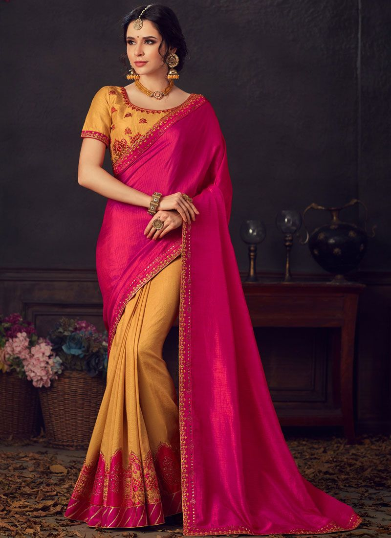 Pink and Yellow Embroidered Silk Saree