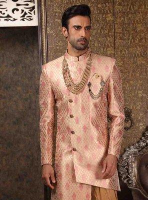 Pink Art Banarasi Silk Embroidered Indo Western Sherwani
