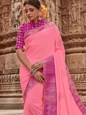 Pink Art Silk Border Designer Traditional Saree