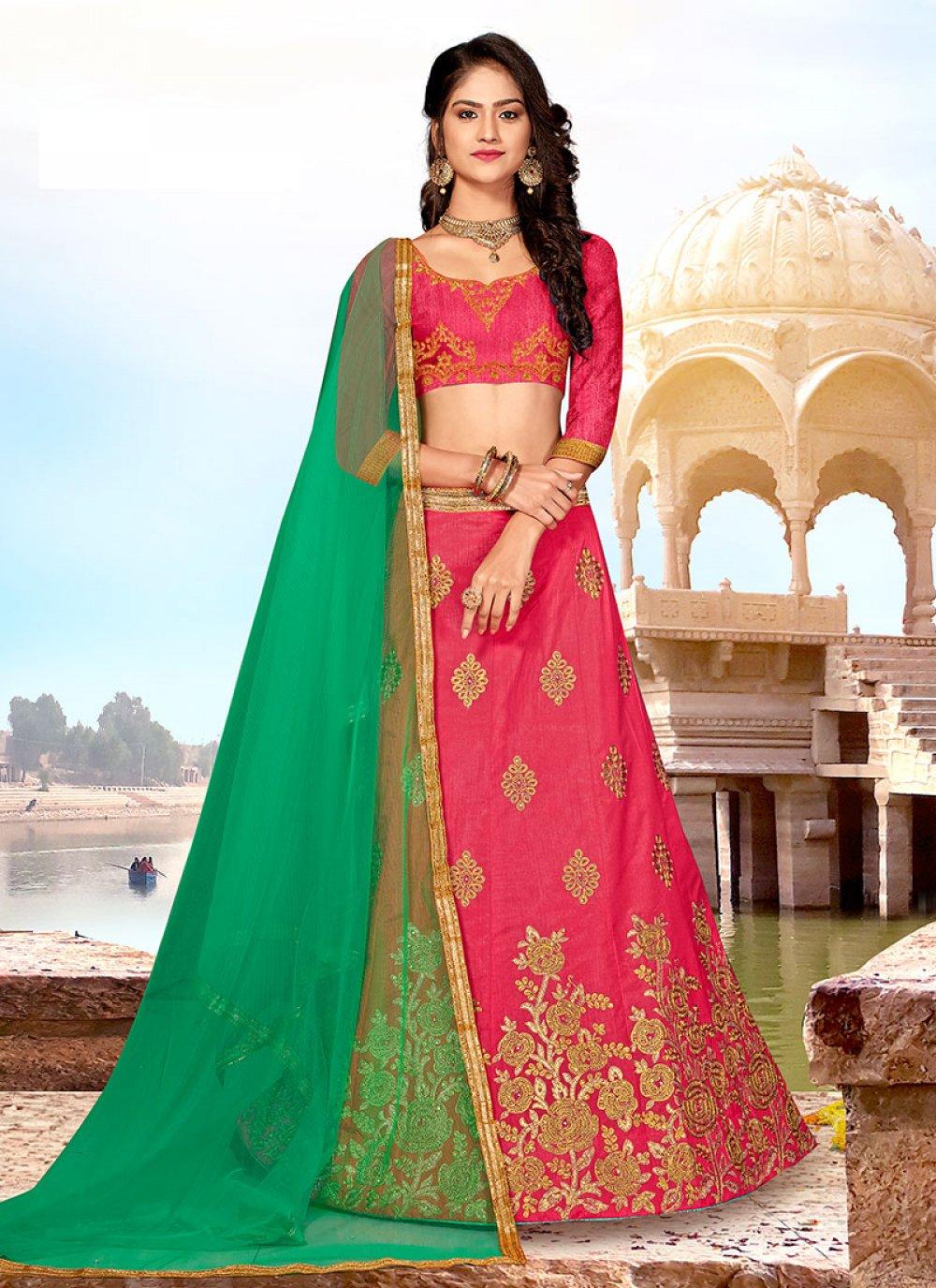 Pink Art Silk Ceremonial Designer Lehenga Choli
