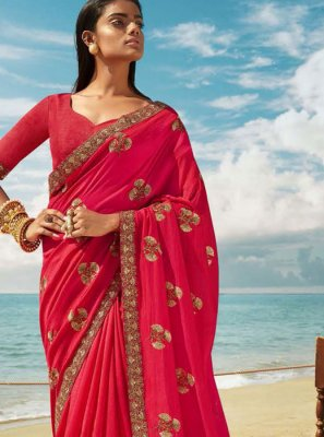 Pink Art Silk Classic Designer Saree