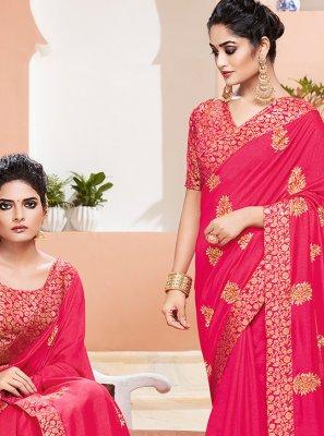 Pink Art Silk Classic Saree