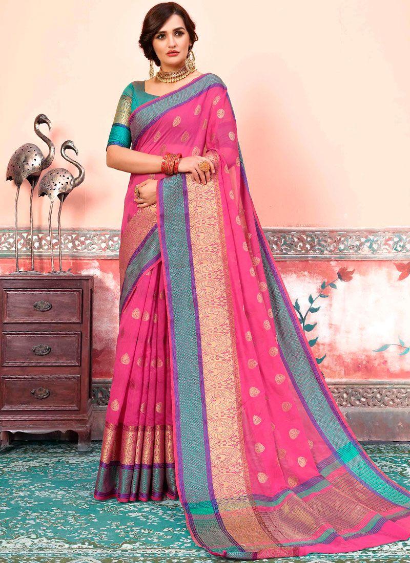Pink Art Silk Cotton Designer Traditional Saree