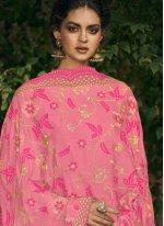 Pink Art Silk Designer Palazzo Salwar Suit