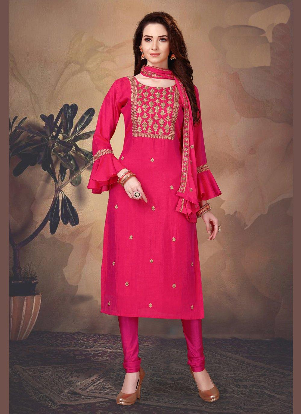 Pink Art Silk Mehndi Churidar Salwar Suit