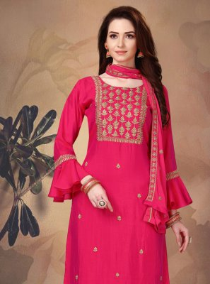 Pink Art Silk Mehndi Churidar Salwar Suit