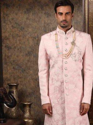 Pink Art Silk Print Sherwani