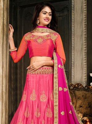 Pink Art Silk Trendy A Line Lehenga Choli