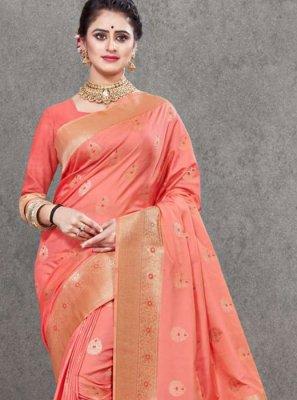 Pink Art Silk Weaving Traditional Designer Saree