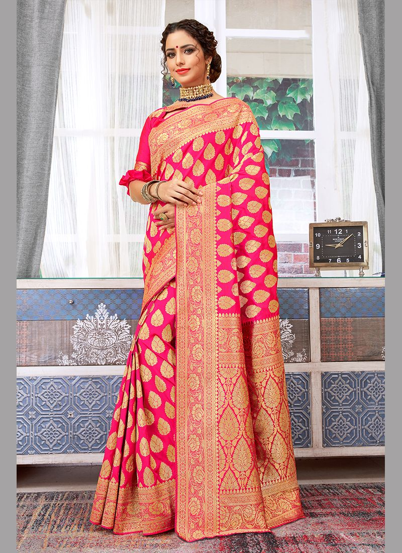 Pink Art Silk Wedding Traditional Designer Saree