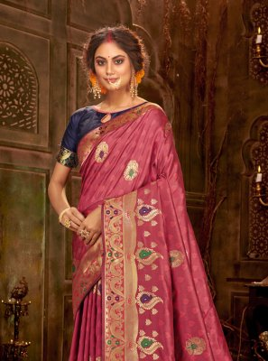 Pink Banarasi Silk Party Classic Saree