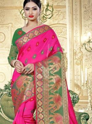 Pink Banarasi Silk Party Designer Saree
