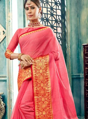 Pink Border Cotton Designer Traditional Saree