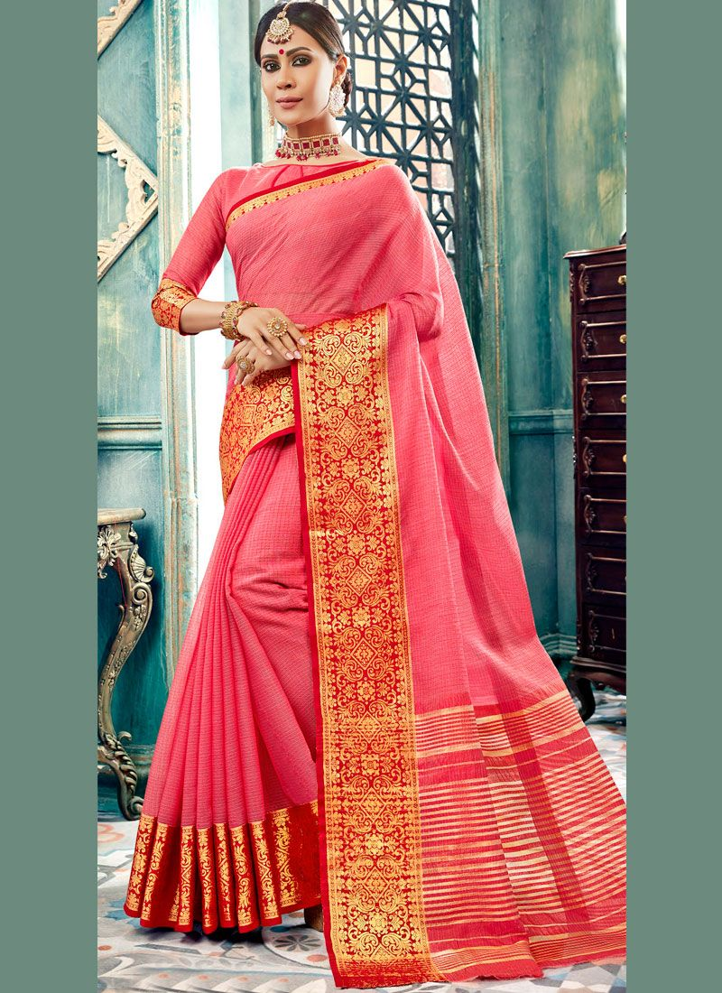 Pink Border Cotton Designer Traditional Saree