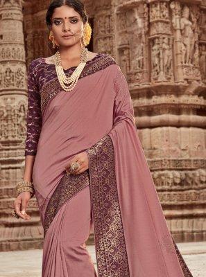 Pink Border Designer Traditional Saree