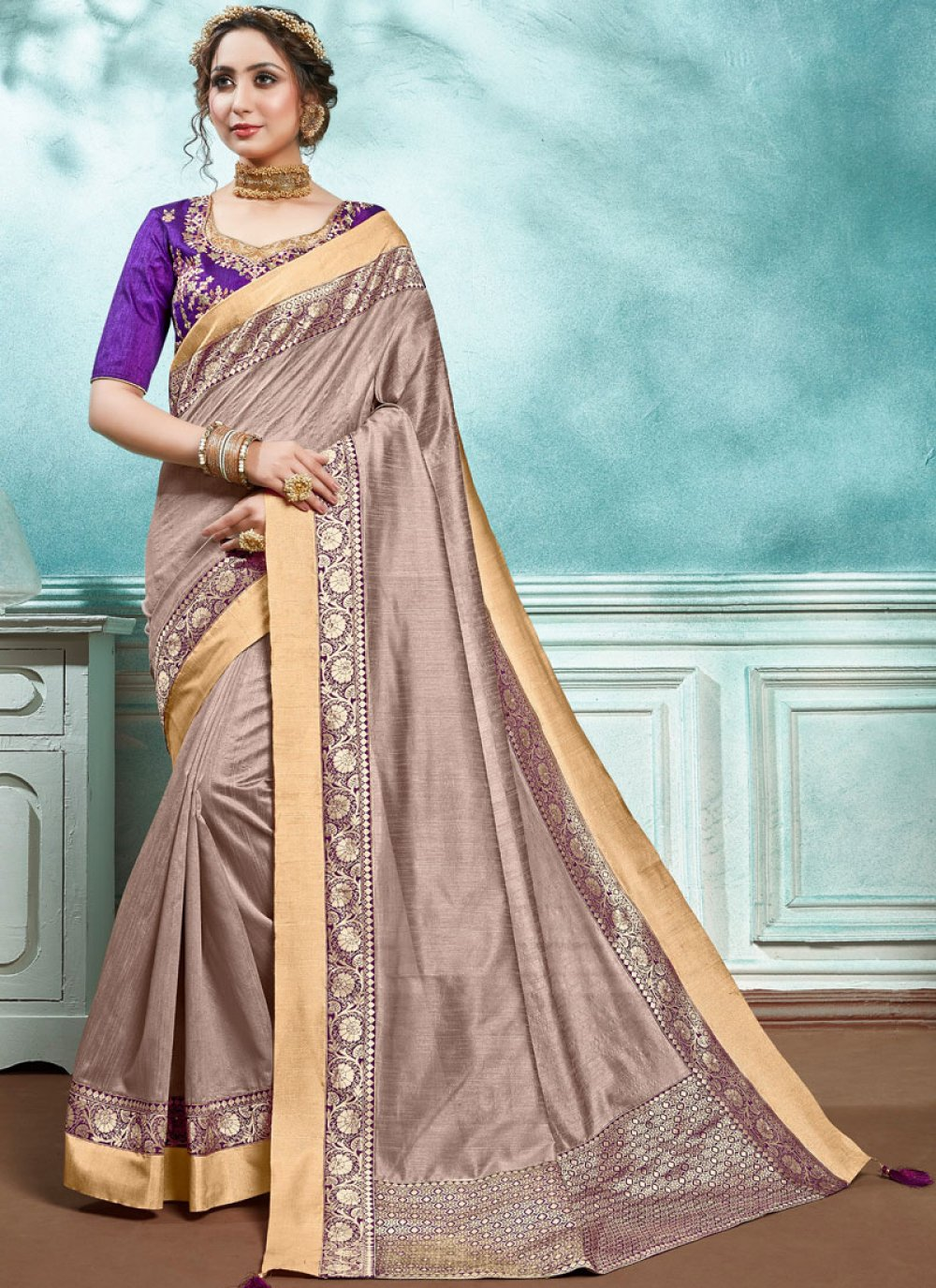 Pink Border Jute Silk Designer Saree