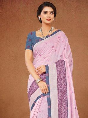 Pink Casual Contemporary Saree