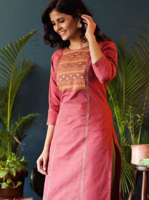 Pink Casual Cotton Party Wear Kurti