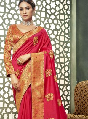 Pink Ceremonial Art Silk Classic Saree