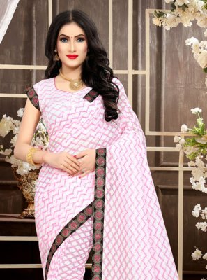 Pink Ceremonial Jacquard Trendy Saree