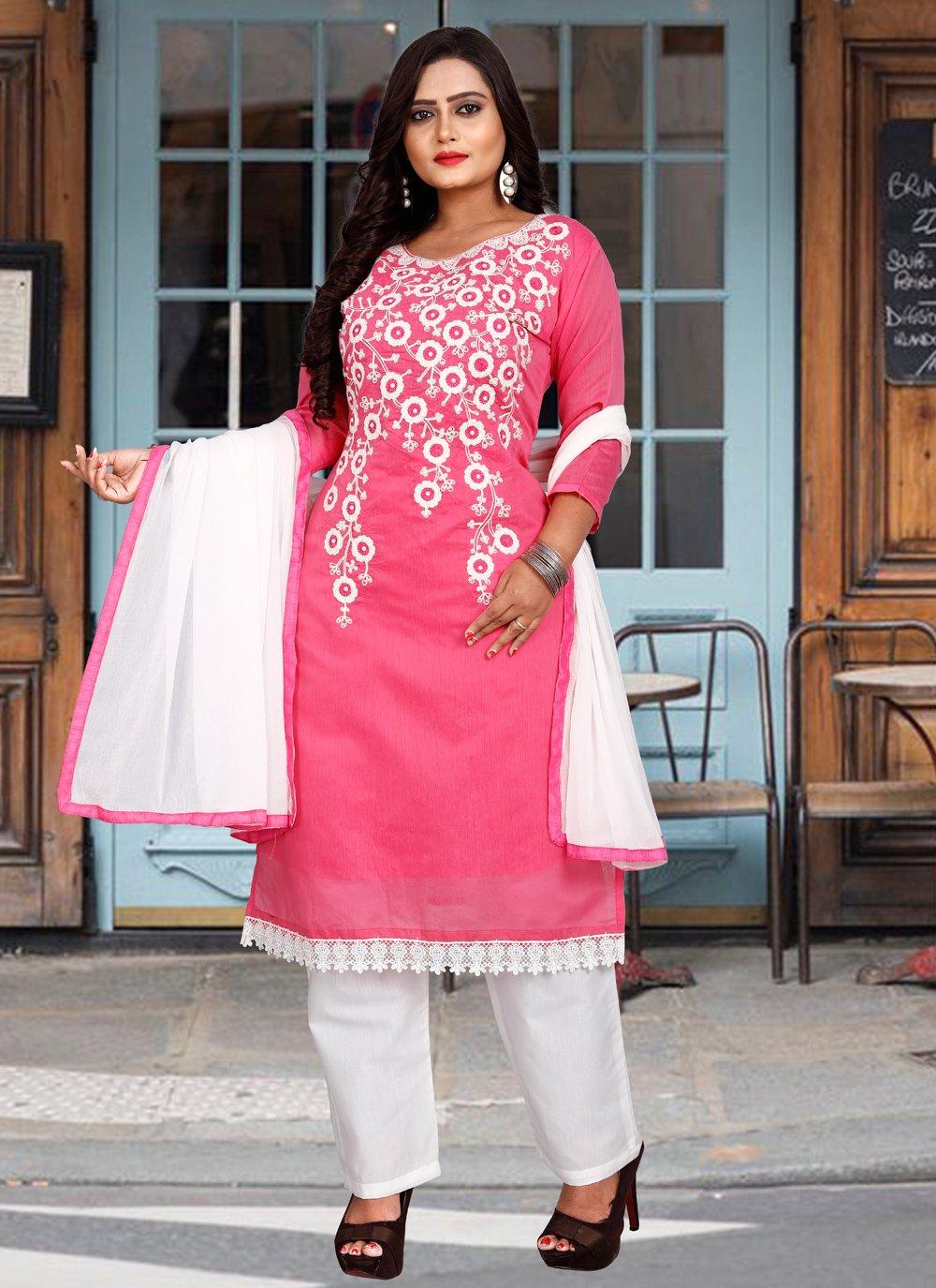 Pink Chanderi Cotton Festival Pant Style Suit
